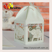 baby shower gift favor box, Laser cut laser cutting paper wedding candy box with ribbon