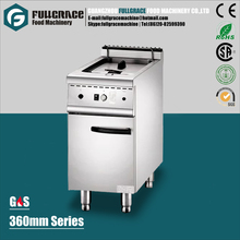 360mm free standing 304 stainless steel single basket gas deep chips fryer with cabinet FG-DF360G
