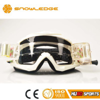 White TPU frame off road safety roll off lens custom motocross goggles in China