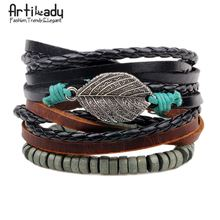 Artilady 3pcs/set multi-layer handmade leaf wood beads weave wrap leather bracelets for Christmas party gift