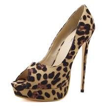 cheelon shoe 2018 extreme stylish leopard pumps ladies platform peep toe high heel shoes