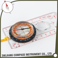 Professional outdoor survival map scale compass with magnifier and ruler