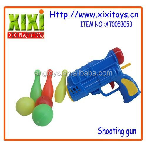 Different style supply safe for kids gift sports toys plastic ball gun toys with bowling ball