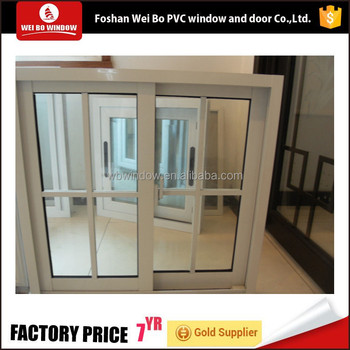 88mm series UPVC single glass sliding window with decorative grills