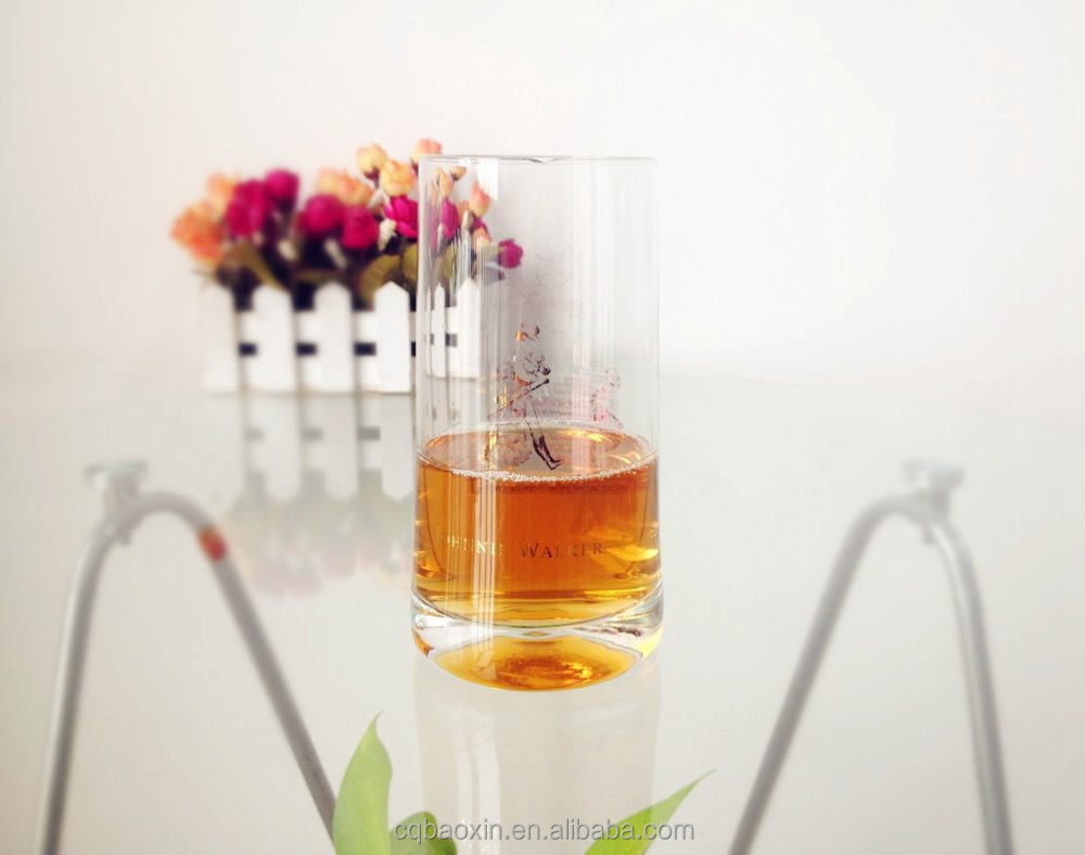 Customized logo transparent drinking whisky glass with round bottom 380ml/12.96oz(glass factory had passed FDA/EU/SGS)