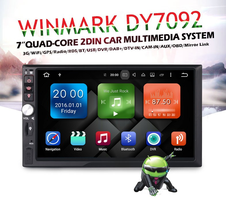 7'' 2din android6.0.1 quad-core universal car radio with 2G RAM+16G flash,built-in WiFi &3G DY7092
