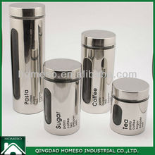 TEA SUGAR COFFEE STAINLESS STEEL COATED GLASS CANISTER SET/AIRTIGHT GLASS JARS WHOLESALE