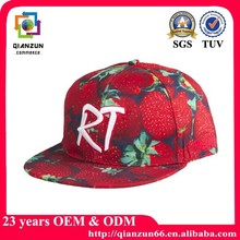 Embroidery 5 Panel Hats Custom Floral flat bill snapback cap with woven label wholesale