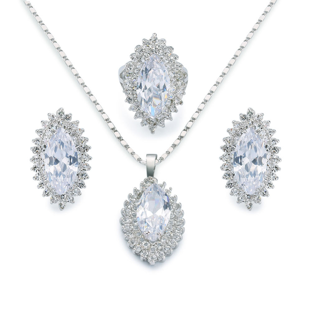Romantic bridal jewelry set 18k white gold plated oval cut gemstone cubic zircon