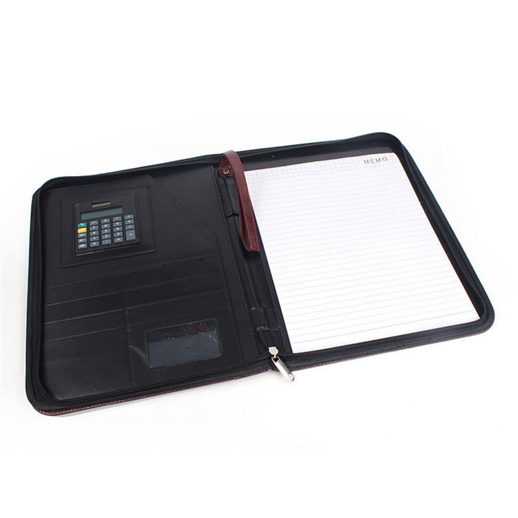 Most popular trendy style wholesale a4 leather document folder with calculator