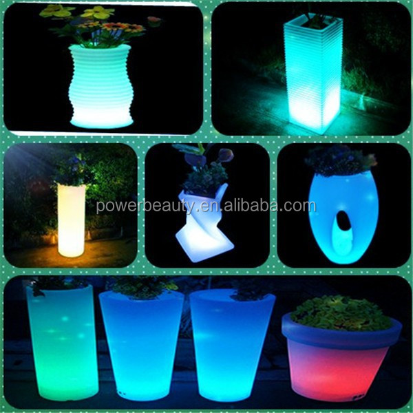 PE plastic garden waterproof glowing led flower pots with pedestal for outdoor
