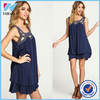 New summer fashion Soft crepe shift dress V cut back Navy embroidery pretty little dress