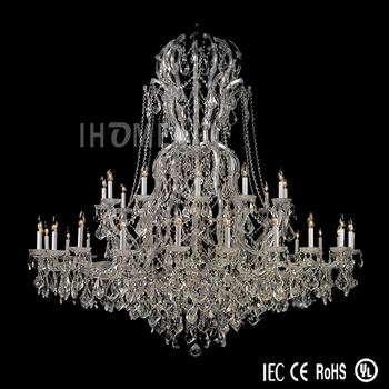 European Style 37-Light Large Clear Polished Chrome Maria Theresa Crystal Chandelier
