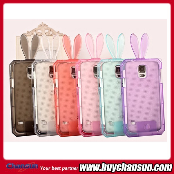 New Rabbit Shaped Cartoon Cute Mobile Phone Case,For Galaxy S5 TPU Case