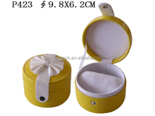 High End Up-market Popular Funky Novelty Design Yellow Leather Wrist Watch Bangle Storage Box For Noble Madam Buyer P423