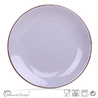 light grey color crackle design ceramic plate and dish with brown rim