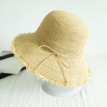 Japanese folding beach boater hat raffia straw hat for baby