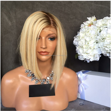 2017 New Arrival Bob Cut Style Blonde Brazilian Virgin Hair Full Lace Wigs Silky Straight Short Non Shedding