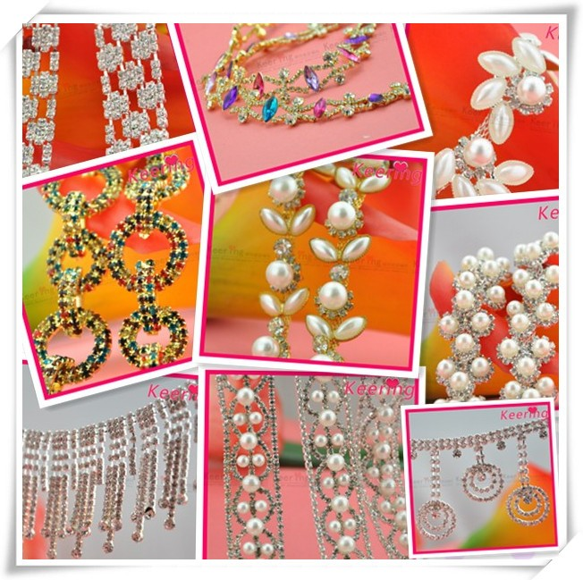 High quality wholesale price pearl lace beaded trimming for wedding dress