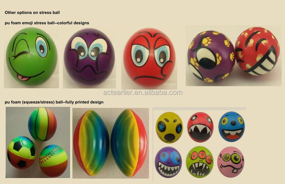 6.3-10cm smile face PU foam squeeze stress ball/ 2.5-4inch anti stress ball with logo