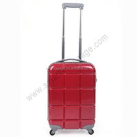 Pure red abs +pc luggage suitcase with aluminium trolley