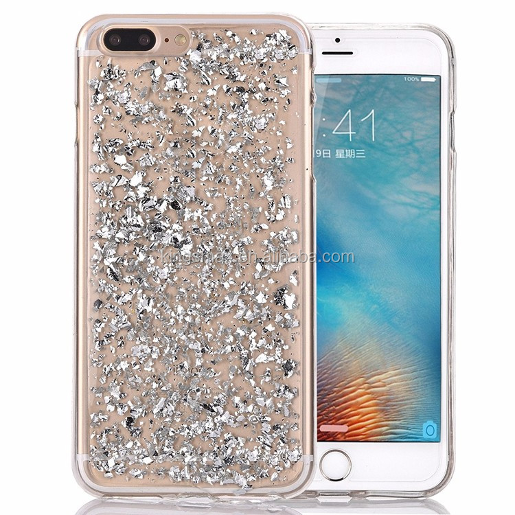 For iphone 7 case 2016 cover,Luxury Bling Glitter TPU case Faceplate Gold Silver Leaf Design for iphone 7/7 plus
