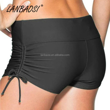 Wholesale Summer Black Beach Short for Women Quick Dry Drawstring Swimming Surfing Swim Pole Dance Shorts