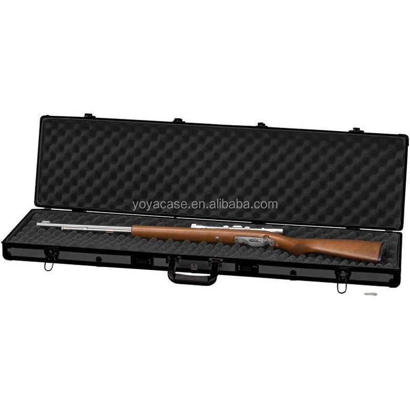 "Details about Black 44"" Rifle Shotgun Aluminum Protection Case, Padded Lock Carry Storage Safe"