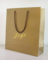 custom kraft paper shopping bag with handle ribbon