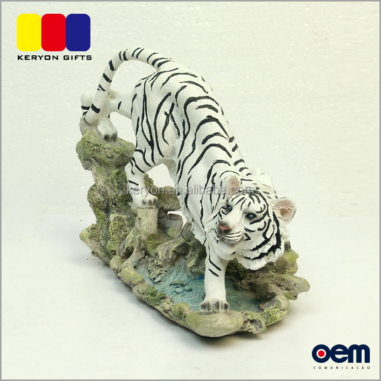 Realistic Custom Made Animal Decor Polyresin Fierce Tiger Statues