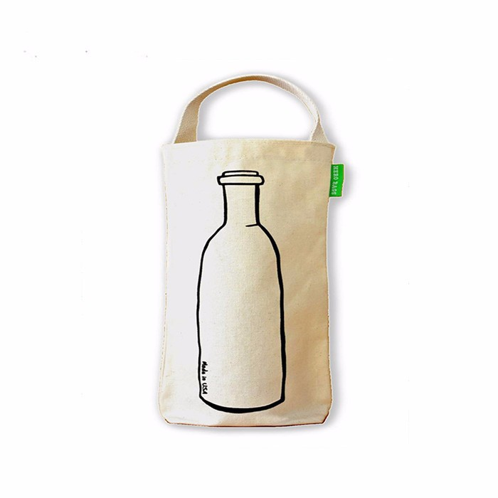 reusable eco-friendly cute silk screen customized tote/handles cotton wine bottle bag