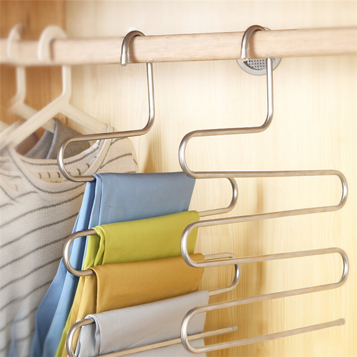 homeself Stainless Steel S-type Multi-Purpose Magic Closet Hangers Space Saver Storage Rack for Hanging Jeans Trouser Scarf