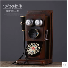 Art craft vintage iron ancient telephone model retro-styled iron craft