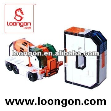 Loongon Magic Letter Robot Between The Letter D And The Mixer Truck With Sound And Light Action Figure