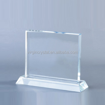 Cheap blank crystal trophy award customized photo frame