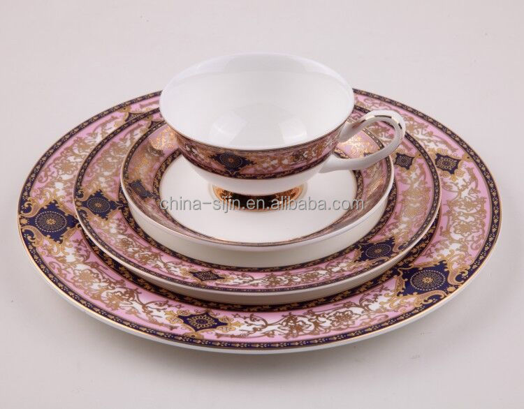 Guangzhou wholesale excellent quality round bone china plates set luxurious tableware sets