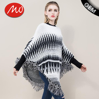 Ladies plush knit mexican tassels poncho sweater wholesale with lowest price
