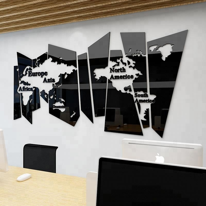 Big and Precise Wall <strong>Decoration</strong> for Office or Sitting Room Large World Map 3D acrylic Wall Decal Stickers