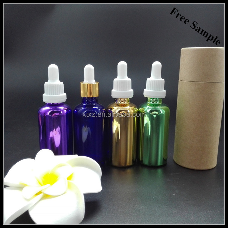 fast delivery 50ml electroplate golden color eye drops glass dropper bottle with screw cap