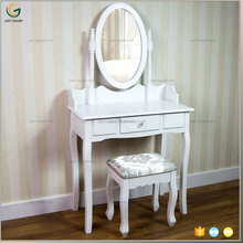 Hot Sale White Simple Design Wooden Dressing Table With Mirror