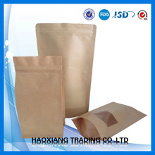 laminated kraft paper nuts packaging bag with square window/box bottom zipper bag for food