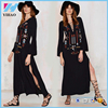 Yihao 2016 Woman autumn dress Long Dress Sexy Deep V-Neck Black Hippie chic Embroidery Dresses with Slit women clothing