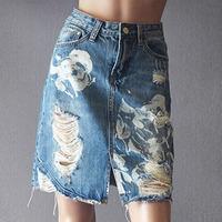 Hole Denim Skirt Printing High Waist Skirt Mini A Line Plus Size Skirt