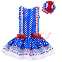 Wholesale!! 2016 Polka Dot Girl Dresses Sleeveless Hand Made Girls Boutique Dress Prettigirl Baby Clothing GD-DMGD905-771