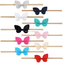 Wholesale 7 color Shaped Butterfly hair bow Infant Nylon Headband HD-1611075-6
