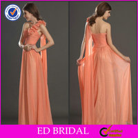 EDB017 China Supply One Shoulder Hand Made Flower Orange Bridesmaids Dresses
