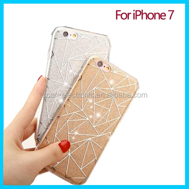 Luxury design phone cover with glitter shiny diamond printing for iPhone 7 case