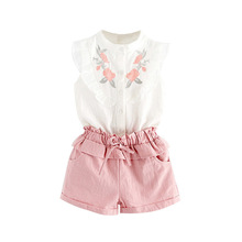 2018 summer children clothing sets baby girl embroidery flower sleeveless blouse with matching shorts 2pcs suits