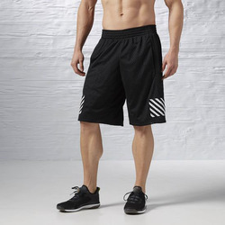 100% Polyester Mesh Fabric Elastic Waistband Classic Long Length Styling Mens Black Basketball Shorts