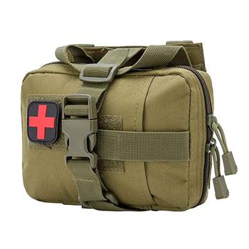Tactical Rip Away EMT Pouch Molle IFAK Medical First Aid Kit Bag with Red Cross Patch
